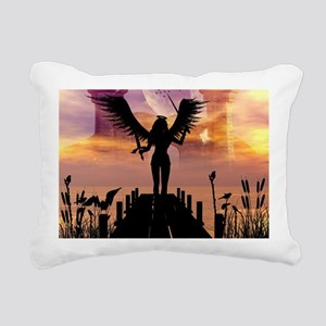 Angele on a jetty Rectangular Canvas Pillow