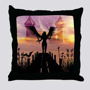 Angele on a jetty Throw Pillow