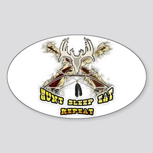 hunt sleep eat repeat Oval Sticker