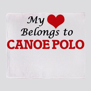 My heart belongs to Canoe Polo Throw Blanket