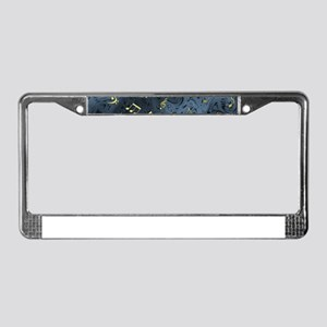 golden music notes in blue License Plate Frame