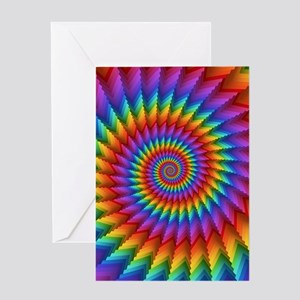 Psychedelic Rainbow Spiral Fractal Greeting Cards