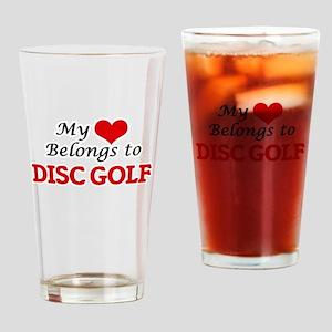 My heart belongs to Disc Golf Drinking Glass