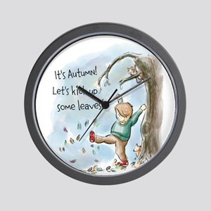 Boy Playing In The Autumn Leaves Wall Clock