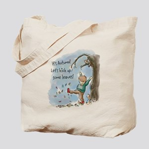Boy Playing In The Autumn Leaves Tote Bag