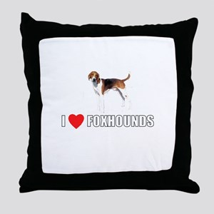 I Love Foxhounds Throw Pillow