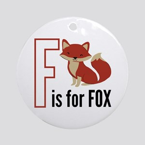 F For Fox Round Ornament