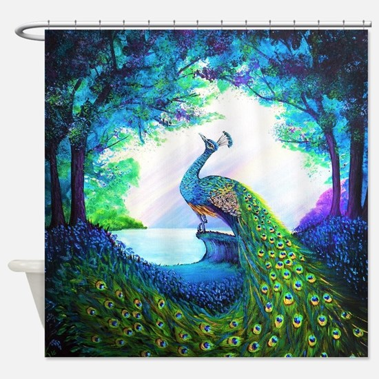 Cute Green purple Shower Curtain