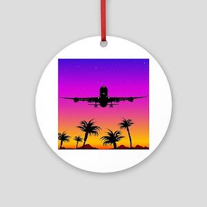 Pacific Plane Round Ornament