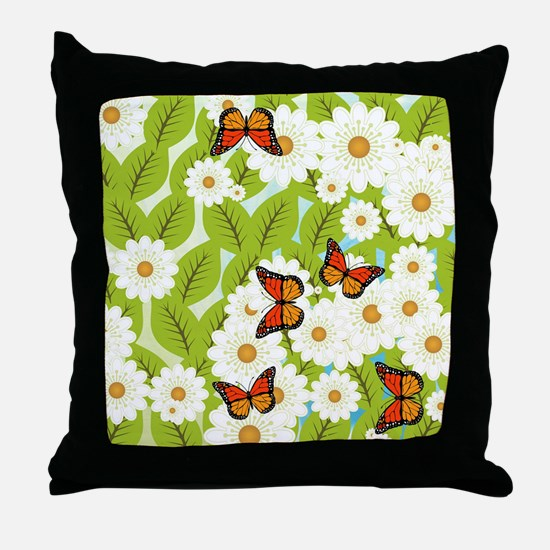 Daisies and butterflies Throw Pillow