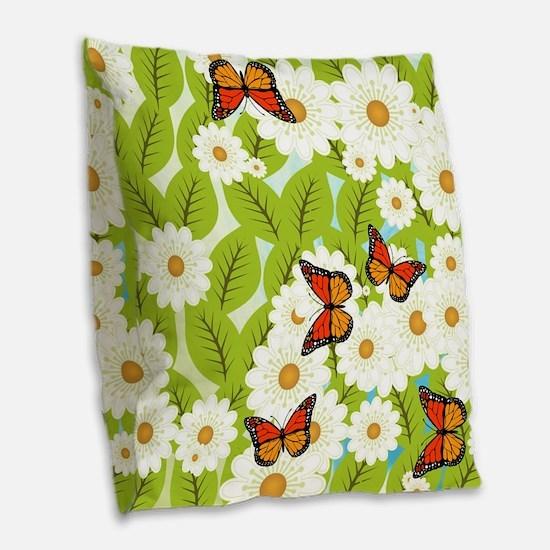 Daisies and butterflies Burlap Throw Pillow