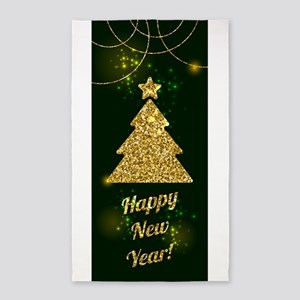 Happy New Year Christmas Green Holiday Area Rug