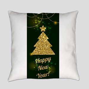 Happy New Year Christmas Green Hol Everyday Pillow