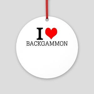 I Love Backgammon Round Ornament
