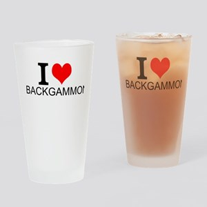 I Love Backgammon Drinking Glass