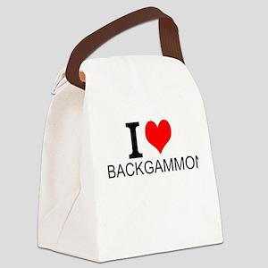 I Love Backgammon Canvas Lunch Bag