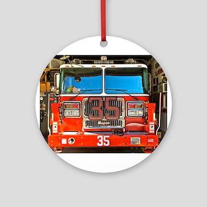 Big Red Fire Truck (II) Round Ornament
