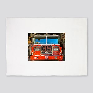 Big Red Fire Truck (II) 5'x7'Area Rug