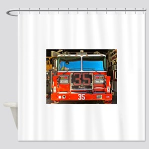 Big Red Fire Truck II Shower Curtain