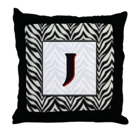 Zebra Monogram J Throw Pillow
