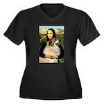 Mona / Gr Pyrenees Women's Plus Size V-Neck Dark T