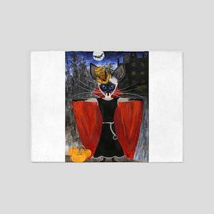 Halloween Vampire Siamese Cat 5'x7'Area Rug