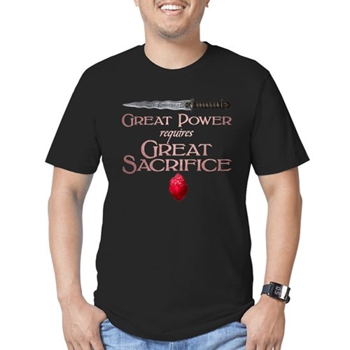Great Power Requires Great Sacrifice Men's Dark Fitted T-Shirt