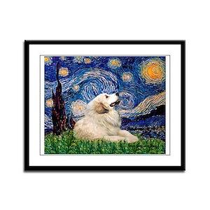 Starry / Gr Pyrenees Framed Panel Print