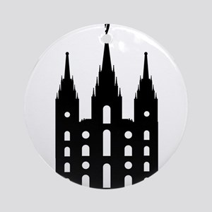 Mormon Style Temple Round Ornament