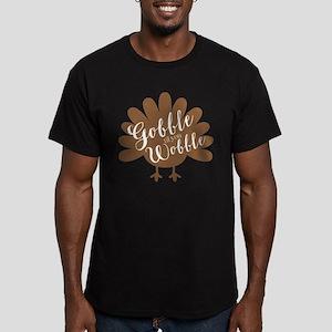 Gobble Wobble Turkey Men's Fitted T-Shirt (dark)
