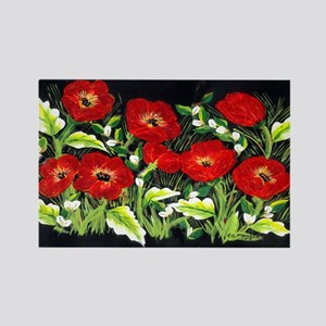 Poppies By Moonlight Rectangle Magnet
