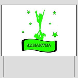 Green Cheerleader Yard Sign