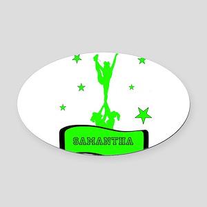 Green Cheerleader Oval Car Magnet
