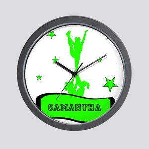 Green Cheerleader Wall Clock