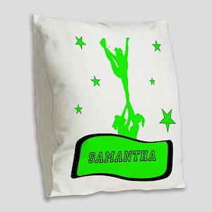 Green Cheerleader Burlap Throw Pillow