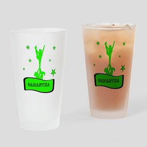 Green Cheerleader Drinking Glass