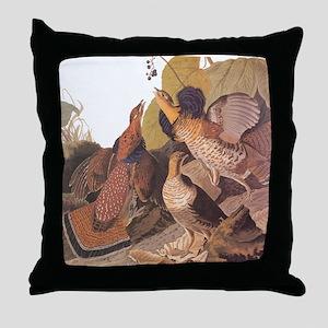 Ruffed Grouse Vintage Audubon Art Throw Pillow