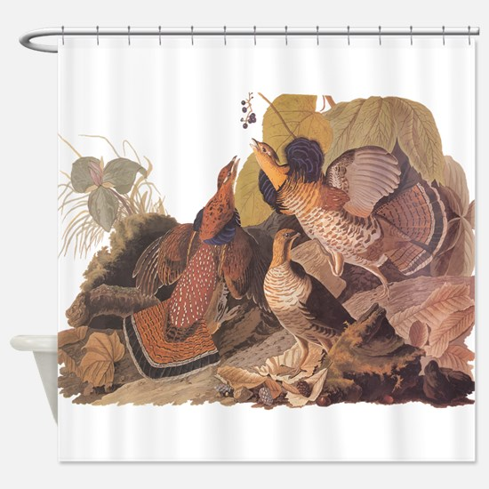 Ruffed Grouse Vintage Audubon Art Shower Curtain