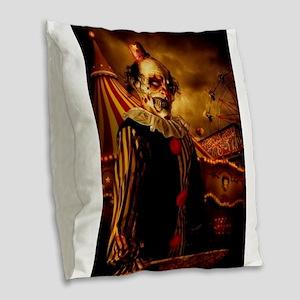 Scary Circus Clown Burlap Throw Pillow