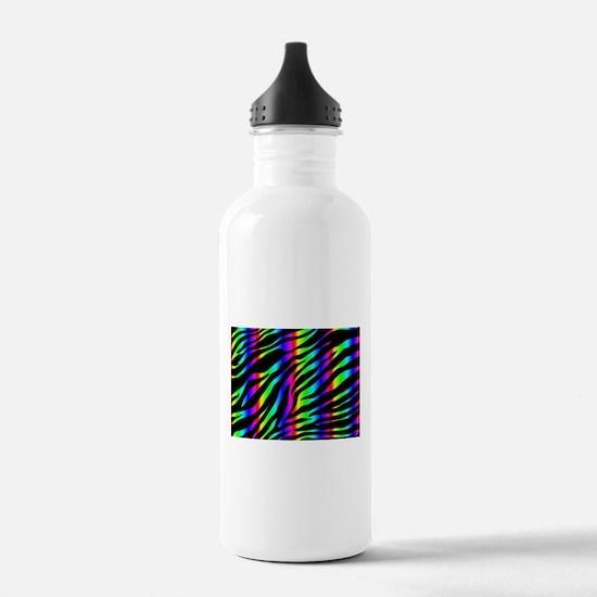 rainbow zebra Water Bottle