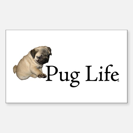 Puppy Pug Life Rectangle Decal