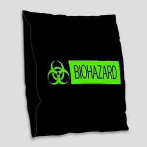 HAZMAT: Biohazard (Slime Green Burlap Throw Pillow