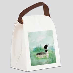 Watercolor Common Loon Bird Natur Canvas Lunch Bag