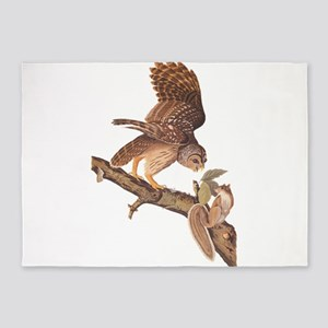 Owl and Squirrel Vintage Audubon Art 5'x7'Area Rug