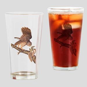 Owl and Squirrel Vintage Audubon Art Drinking Glas