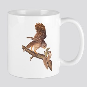 Owl and Squirrel Vintage Audubon Art Mugs