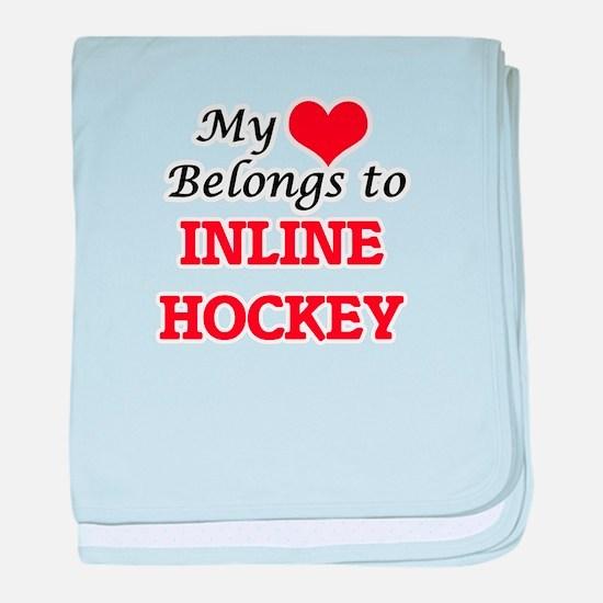 My heart belongs to Inline Hockey baby blanket