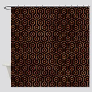 HEXAGON1 BLACK MARBLE & BROWN MARBL Shower Curtain