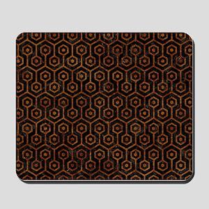 HEXAGON1 BLACK MARBLE & BROWN MARBLE Mousepad