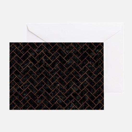 BRICK2 BLACK MARBLE & BROWN MARBLE Greeting Card
